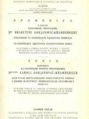 Spomenica u počast prof. dr. Dragutinu Gorjanović-Krambergeru
