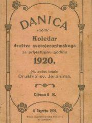 Danica: Koledar društva svetojeronimskoga za prijestupnu godinu 1920.