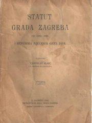 Statut grada Zagreba od god. 1609. i reforma njegova god. 1618.